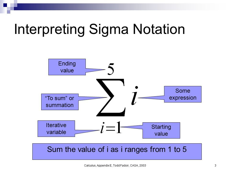 "Calculus, Appendix E, Todd Fadoir, CASA, 20033 Interpreting Sigma Notation Iterative variable Starting value Ending value ""To sum"" or summation Some e"