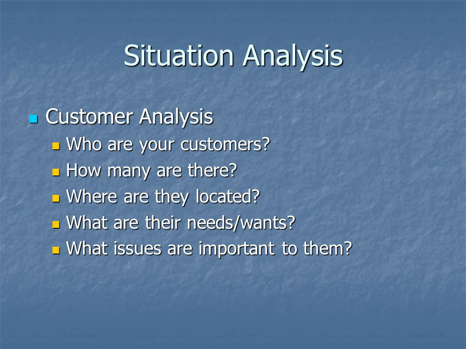 Situation Analysis Customer Analysis Customer Analysis Who are your customers.