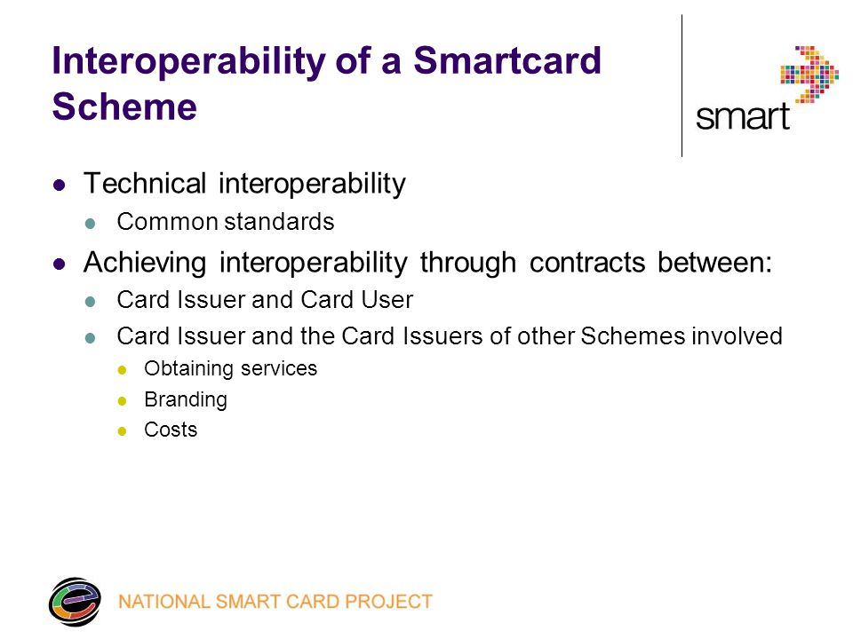 Interoperability of a Smartcard Scheme Technical interoperability Common standards Achieving interoperability through contracts between: Card Issuer and Card User Card Issuer and the Card Issuers of other Schemes involved Obtaining services Branding Costs