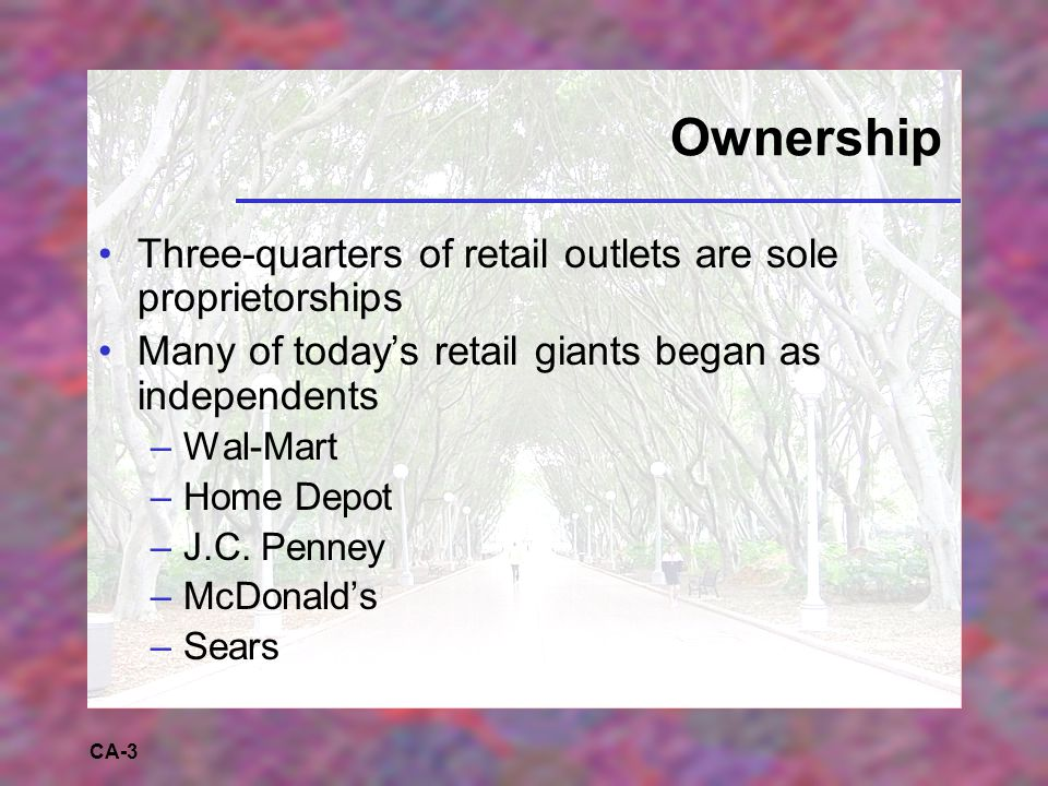 CA-3 Ownership Three-quarters of retail outlets are sole proprietorships Many of today's retail giants began as independents –Wal-Mart –Home Depot –J.C.
