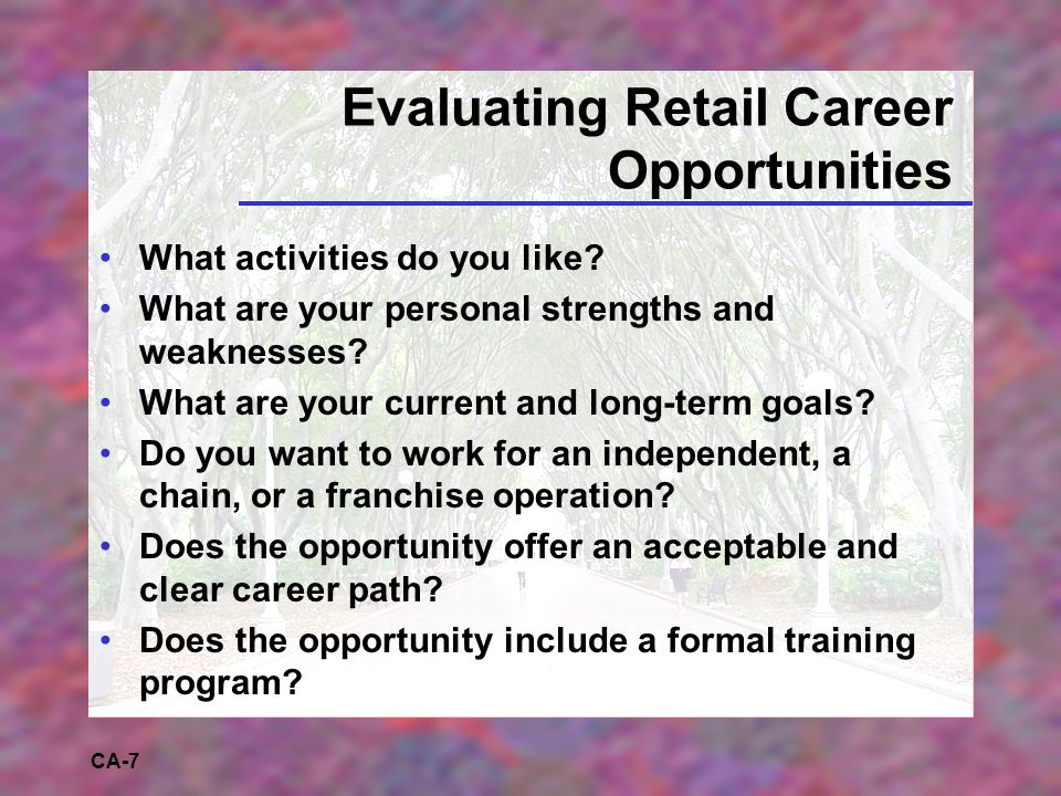 CA-7 Evaluating Retail Career Opportunities What activities do you like.