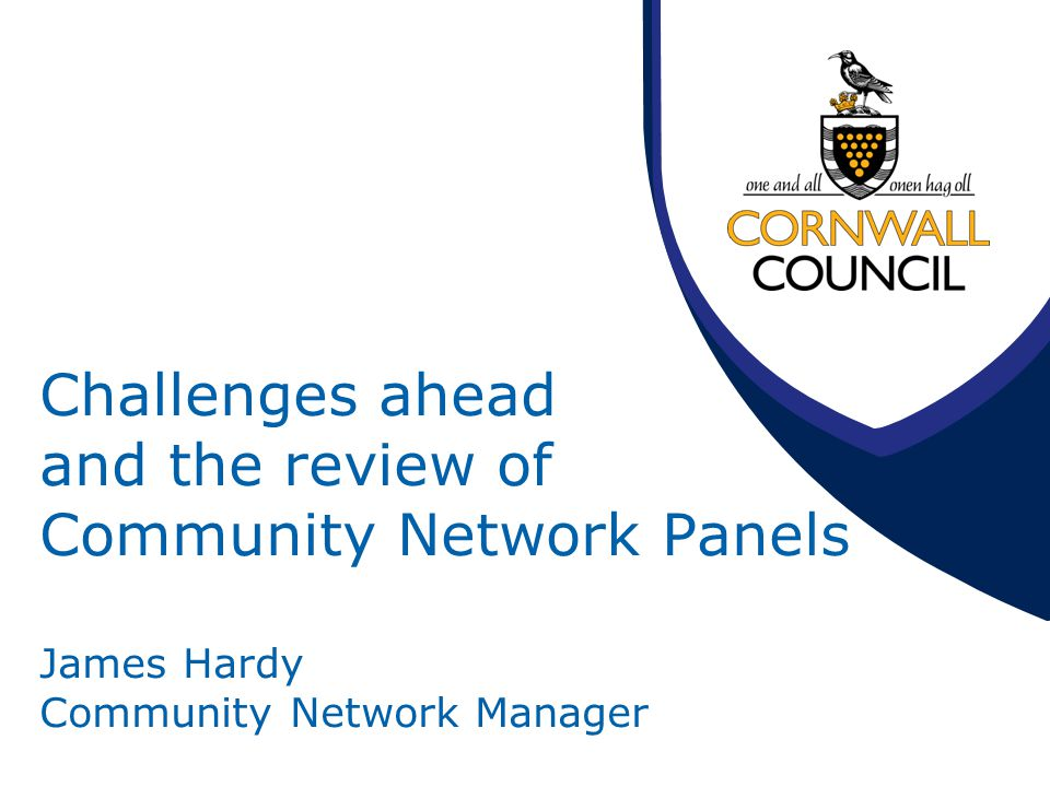Challenges ahead and the review of Community Network Panels James Hardy Community Network Manager