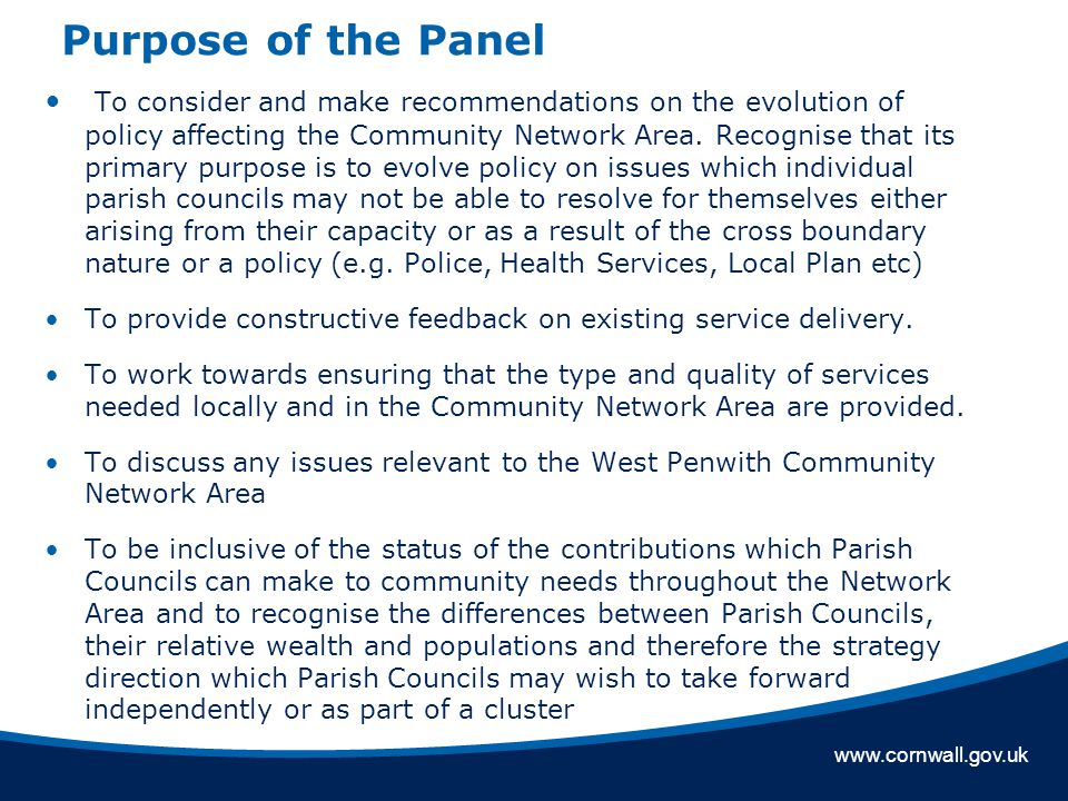 www.cornwall.gov.uk Purpose of the Panel To consider and make recommendations on the evolution of policy affecting the Community Network Area.