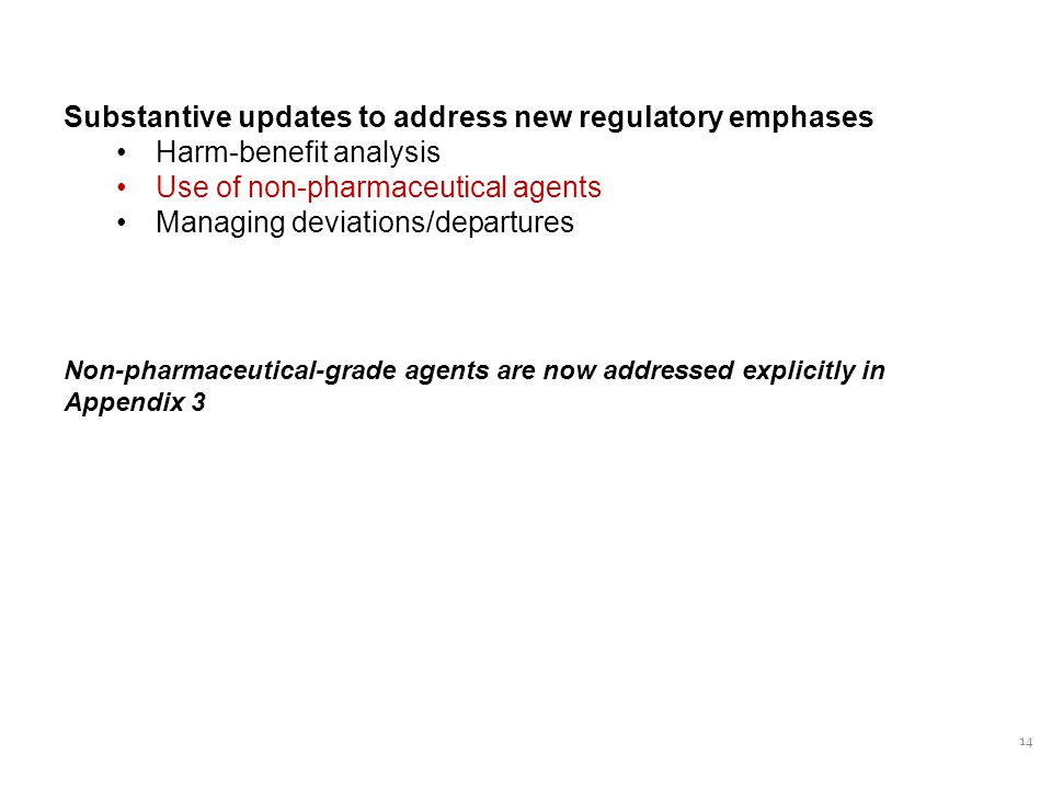 14 Substantive updates to address new regulatory emphases Harm-benefit analysis Use of non-pharmaceutical agents Managing deviations/departures Non-pharmaceutical-grade agents are now addressed explicitly in Appendix 3