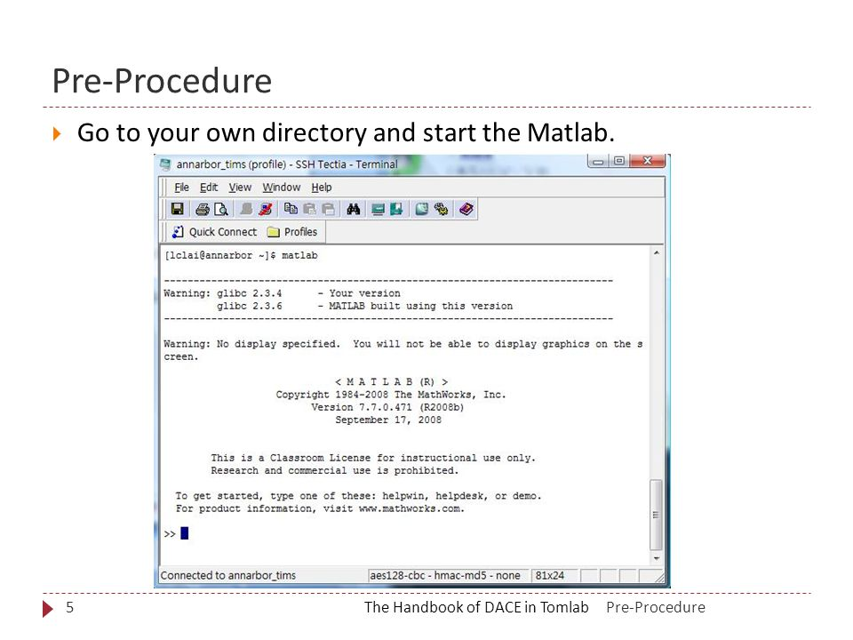 Pre-Procedure The Handbook of DACE in Tomlab5  Go to your own directory and start the Matlab.