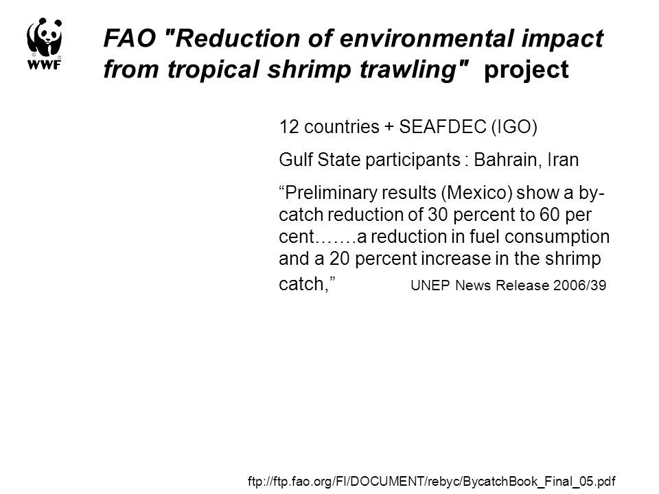 FAO Reduction of environmental impact from tropical shrimp trawling project 12 countries + SEAFDEC (IGO) Gulf State participants : Bahrain, Iran Preliminary results (Mexico) show a by- catch reduction of 30 percent to 60 per cent…….a reduction in fuel consumption and a 20 percent increase in the shrimp catch, UNEP News Release 2006/39 ftp://ftp.fao.org/FI/DOCUMENT/rebyc/BycatchBook_Final_05.pdf