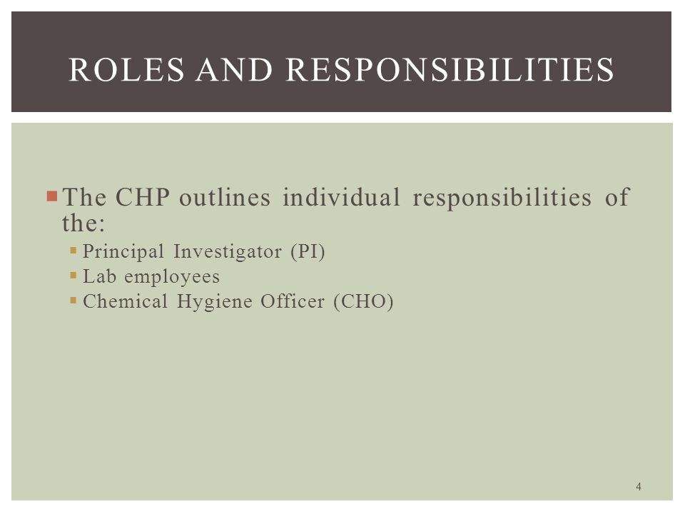  The CHP outlines individual responsibilities of the:  Principal Investigator (PI)  Lab employees  Chemical Hygiene Officer (CHO) 4 ROLES AND RESP