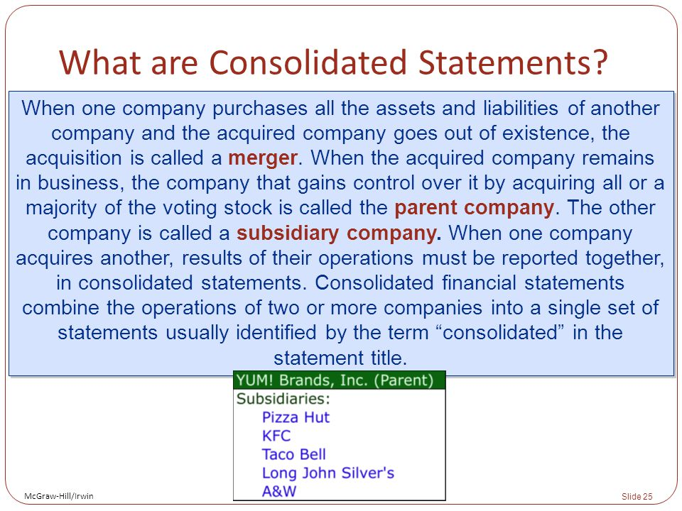 McGraw-Hill/Irwin Slide 25 What are Consolidated Statements.