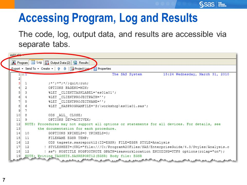 7 Accessing Program, Log and Results The code, log, output data, and results are accessible via separate tabs.