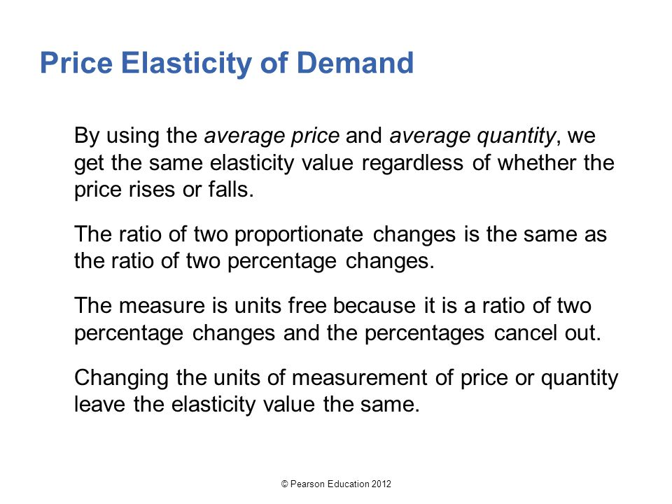 By using the average price and average quantity, we get the same elasticity value regardless of whether the price rises or falls.