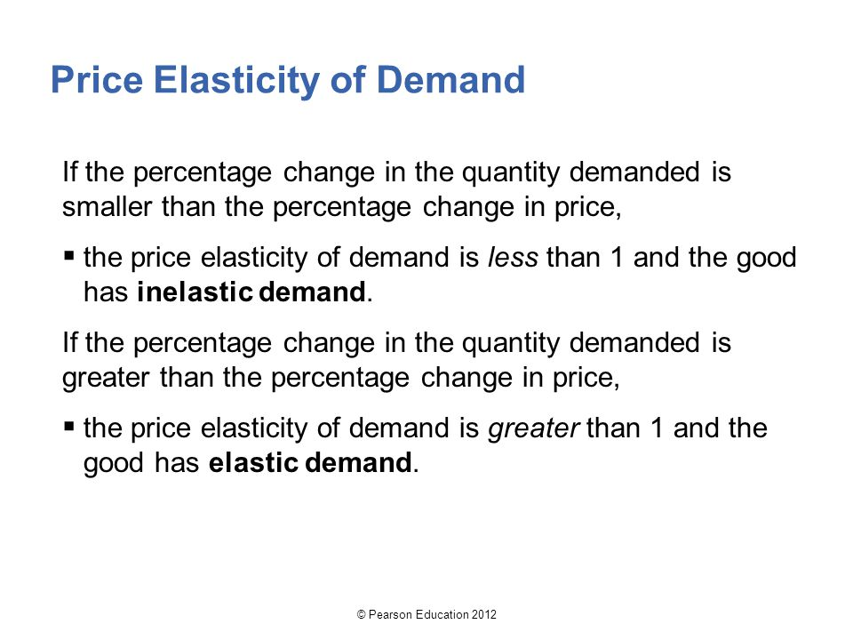 Price Elasticity of Demand If the percentage change in the quantity demanded is smaller than the percentage change in price,  the price elasticity of demand is less than 1 and the good has inelastic demand.