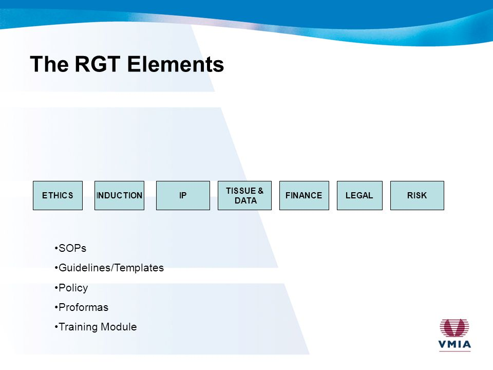 RGT The challenges –The scope of works for the project were considerable given the allocated timeframe –Not mandating strongly a specific template for submitting work packages –The natural evolution of legislation or standards over the allocated project period –The ever evolving clinical trial landscape –Proof reading & final sign off.