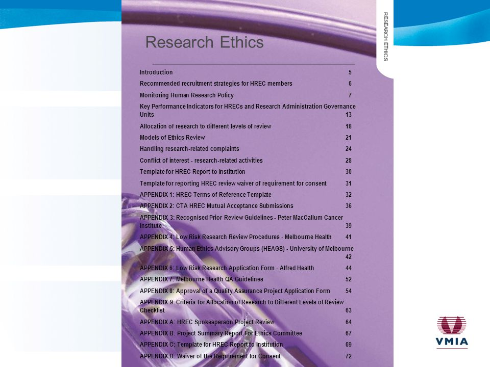 Research Ethics Introduction5 Recommended recruitment strategies for HREC members6 Monitoring Human Research Policy7 Key Performance Indicators for HR
