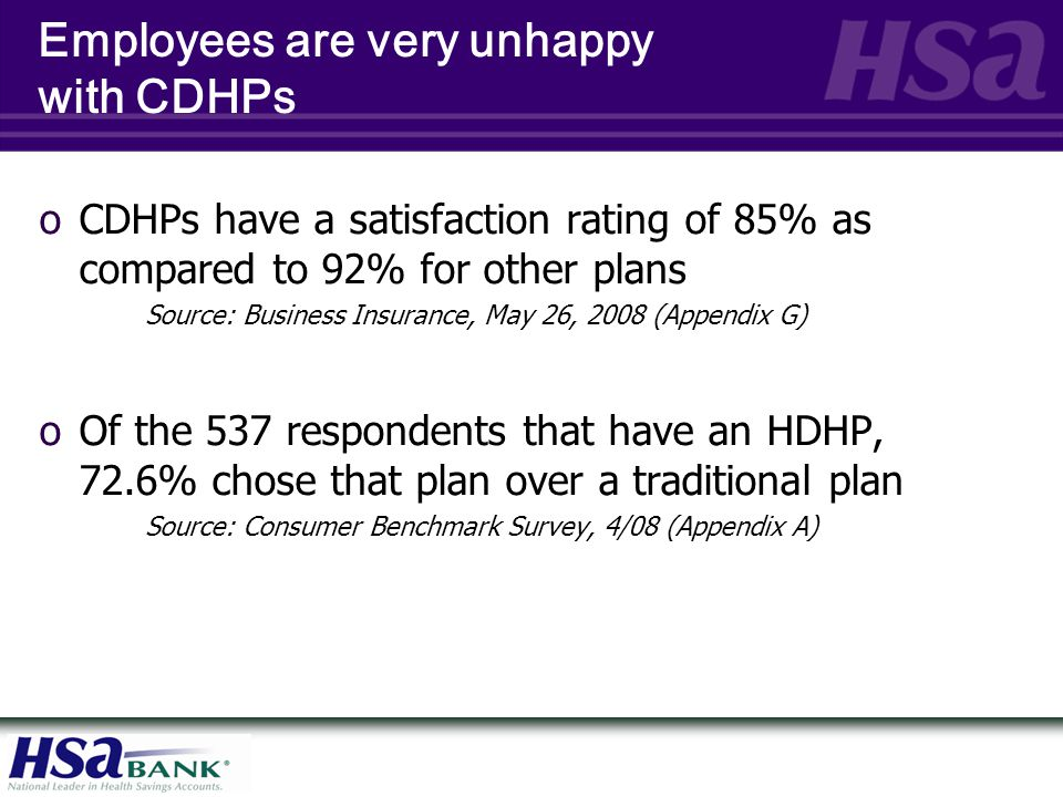 Employees are very unhappy with CDHPs oCDHPs have a satisfaction rating of 85% as compared to 92% for other plans Source: Business Insurance, May 26,