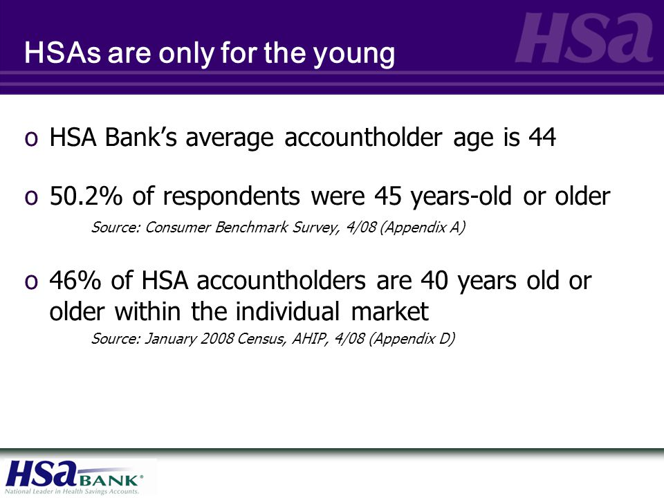 HSAs are only for the young oHSA Bank's average accountholder age is 44 o50.2% of respondents were 45 years-old or older Source: Consumer Benchmark Su