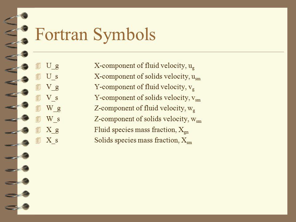 Fortran Symbols 4 U_gX-component of fluid velocity, u g 4 U_sX-component of solids velocity, u sm 4 V_gY-component of fluid velocity, v g 4 V_sY-compo