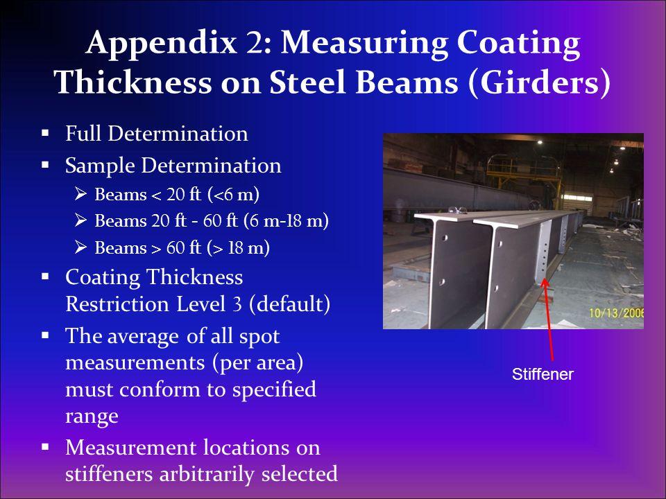 Appendix 2 : Measuring Coating Thickness on Steel Beams (Girders)  Full Determination  Sample Determination  Beams < 20 ft (< 6 m)  Beams 20 ft -