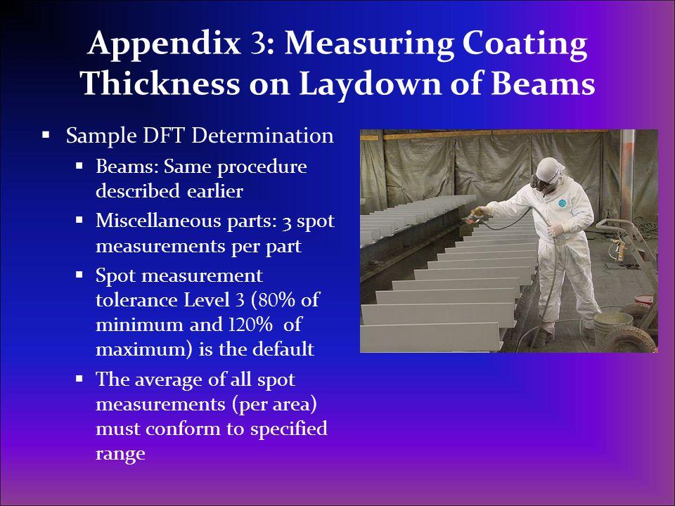 Appendix 3 : Measuring Coating Thickness on Laydown of Beams  Sample DFT Determination  Beams: Same procedure described earlier  Miscellaneous part