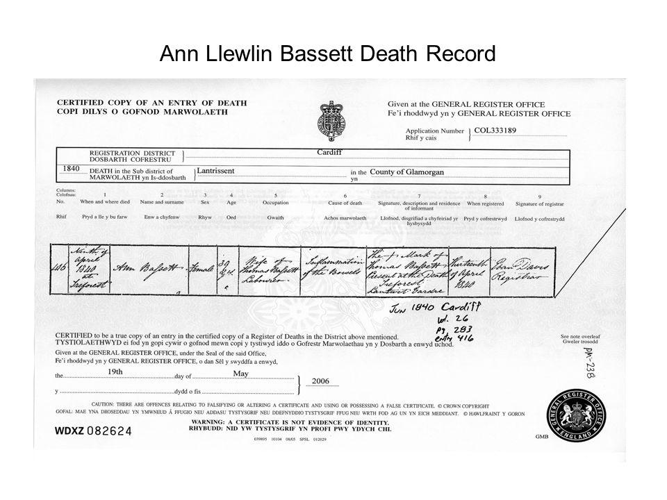 Ann Llewlin Bassett Death Record