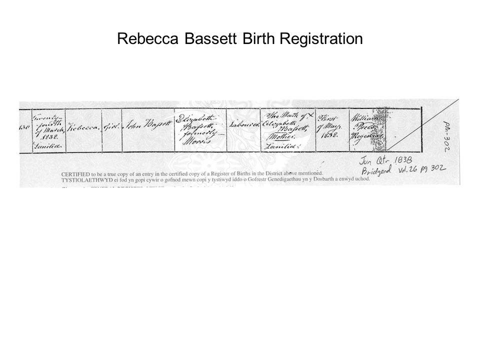 Rebecca Bassett Birth Registration