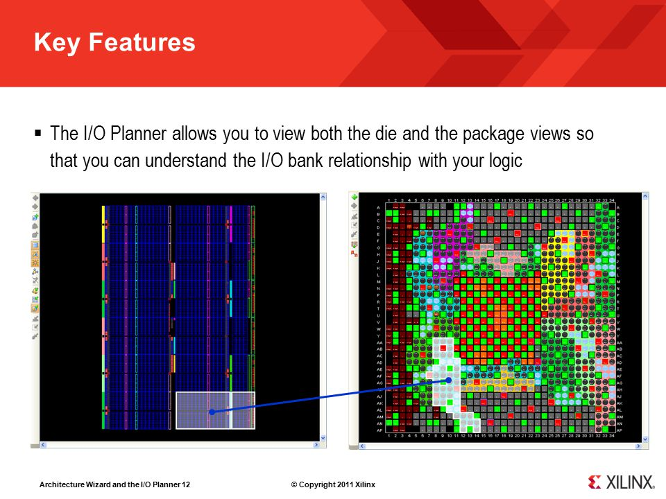 Architecture Wizard and the I/O Planner 12 © Copyright 2011 Xilinx Key Features  The I/O Planner allows you to view both the die and the package view