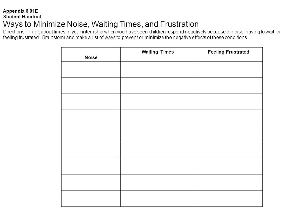 Appendix 6.01E Student Handout Ways to Minimize Noise, Waiting Times, and Frustration Directions: Think about times in your internship when you have seen children respond negatively because of noise, having to wait, or feeling frustrated.