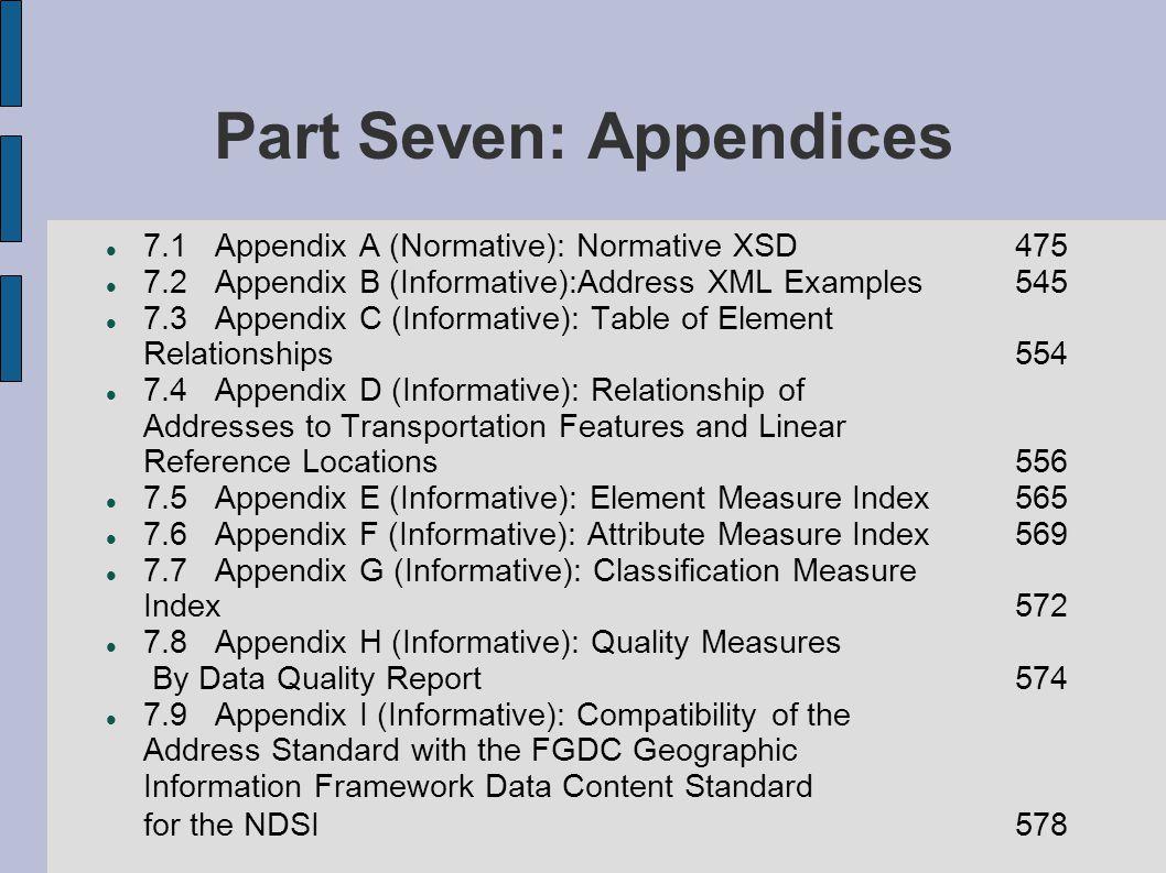 Part Seven: Appendices 7.1 Appendix A (Normative): Normative XSD 475 7.2 Appendix B (Informative):Address XML Examples 545 7.3 Appendix C (Informative