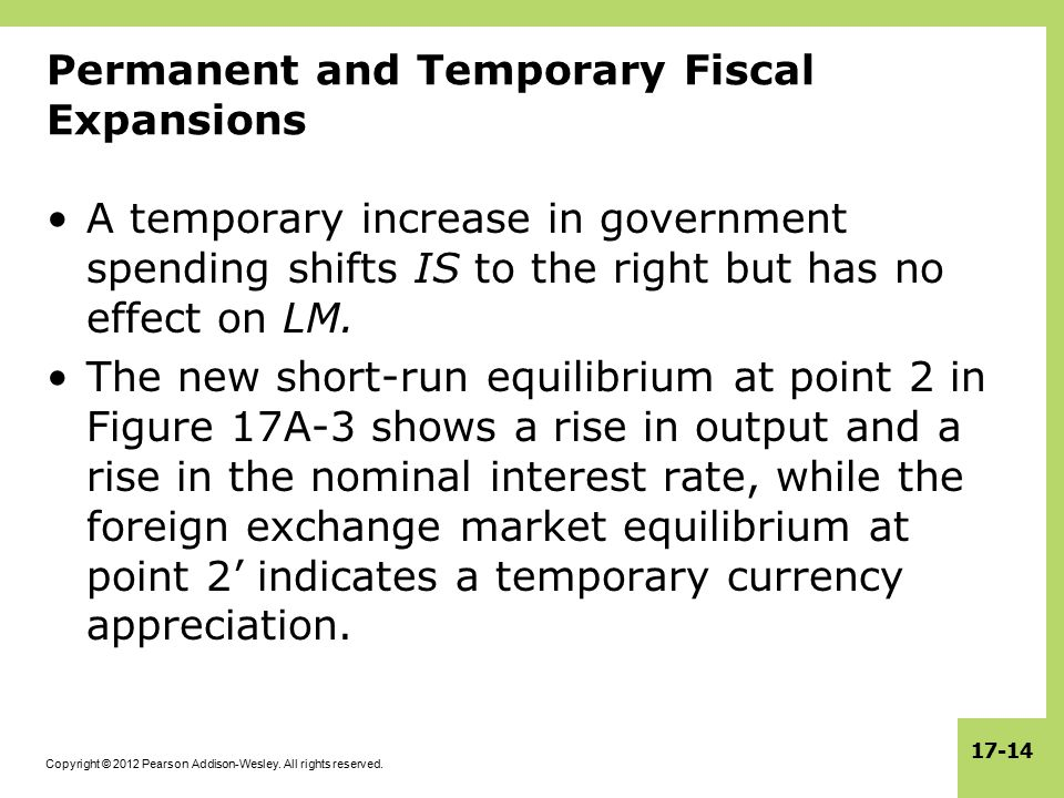 Copyright © 2012 Pearson Addison-Wesley. All rights reserved. 17-14 Permanent and Temporary Fiscal Expansions A temporary increase in government spend