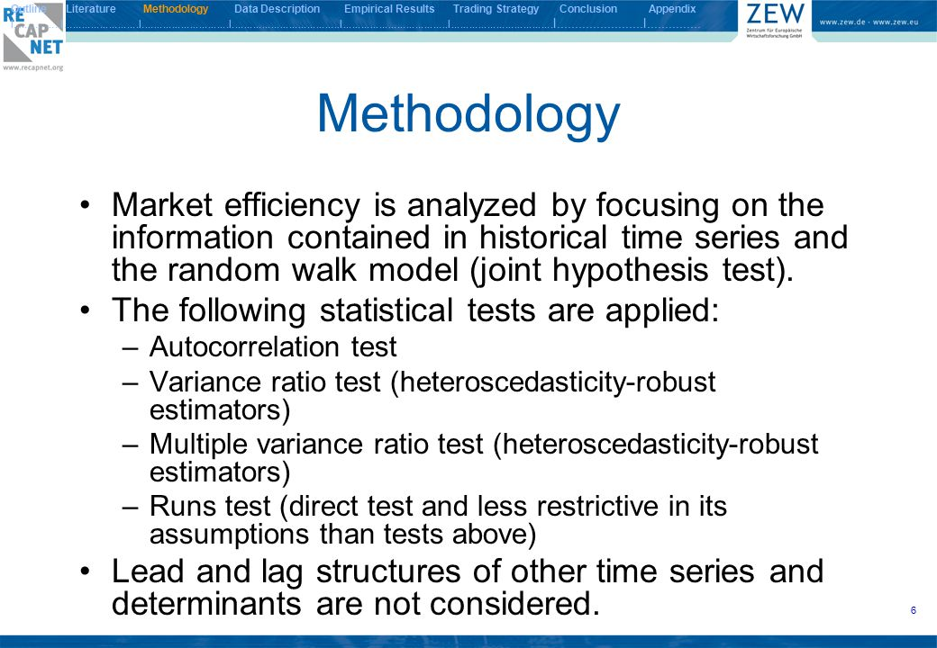 7 Null and Alternative Hypotheses of Weak- Form Market Efficiency Tests Outline Literature Methodology Data Description Empirical Results Trading Strategy Conclusion Appendix I.................I.........................I.............................I....................................I...................................I..................................