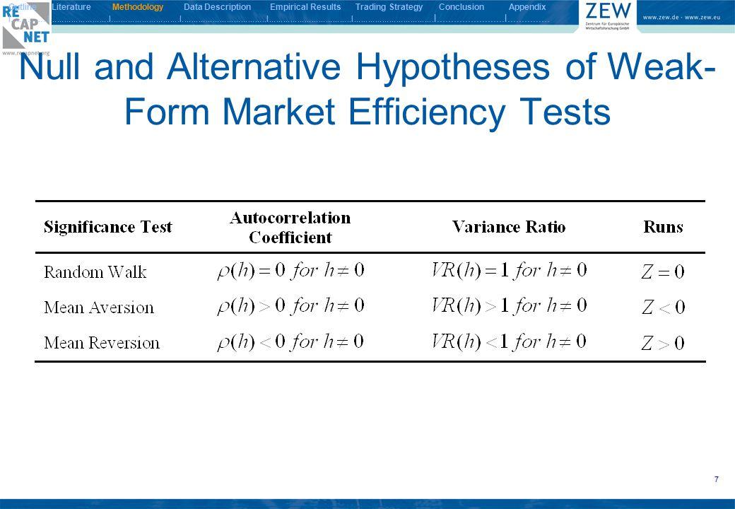 28 Statistical Tests on the Results IV Outline Literature Methodology Data Description Empirical Results Trading Strategy Conclusion Appendix I.................I.........................I.............................I....................................I...................................I..................................