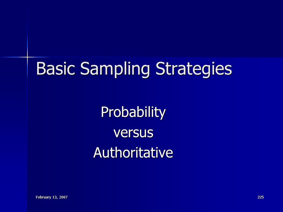 February 13, 2007 225 Basic Sampling Strategies ProbabilityversusAuthoritative
