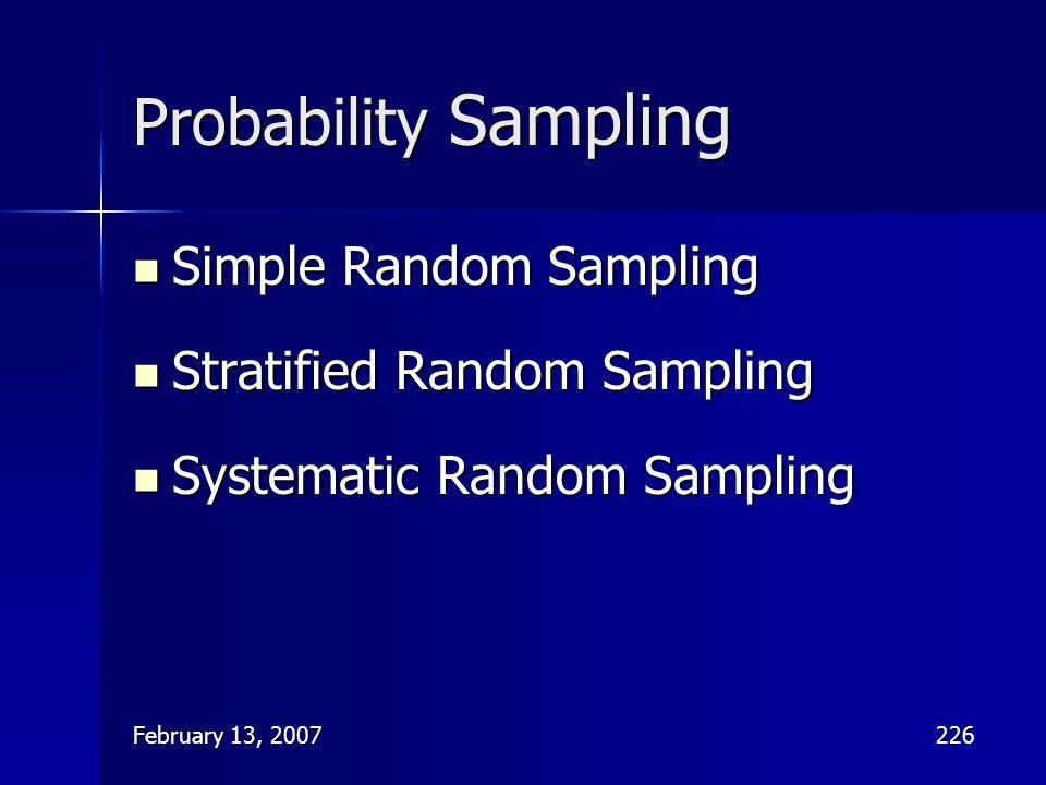 February 13, 2007226 Probability Sampling Simple Random Sampling Simple Random Sampling Stratified Random Sampling Stratified Random Sampling Systemat