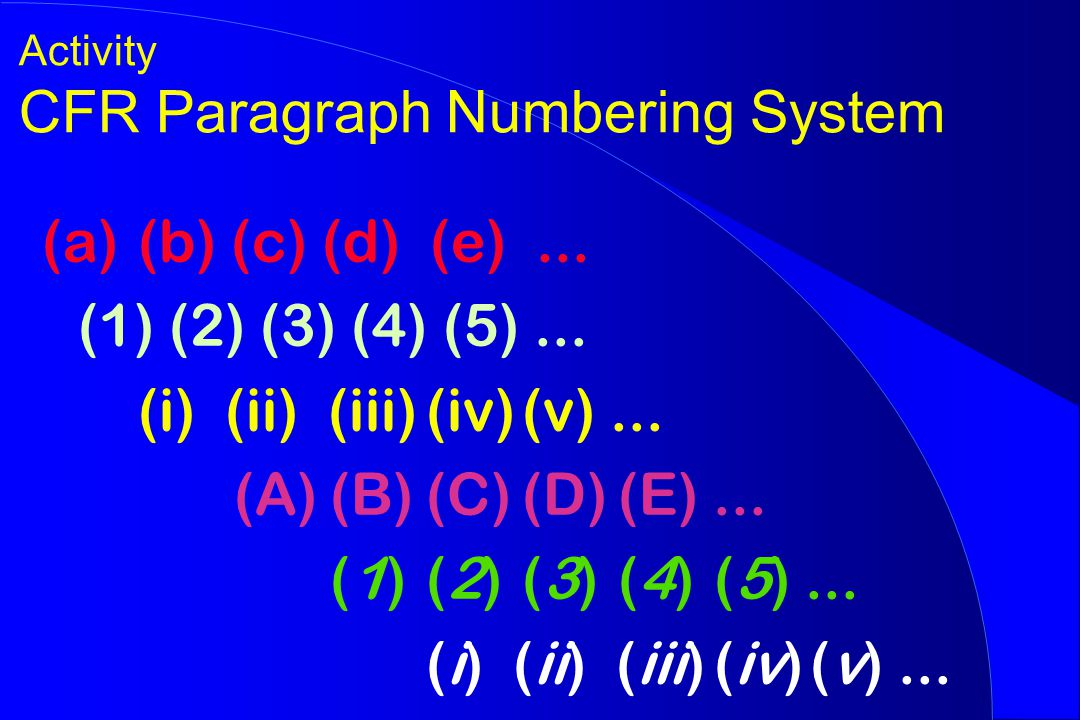 Activity CFR Paragraph Numbering System (a)(b) (c) (d) (e)...