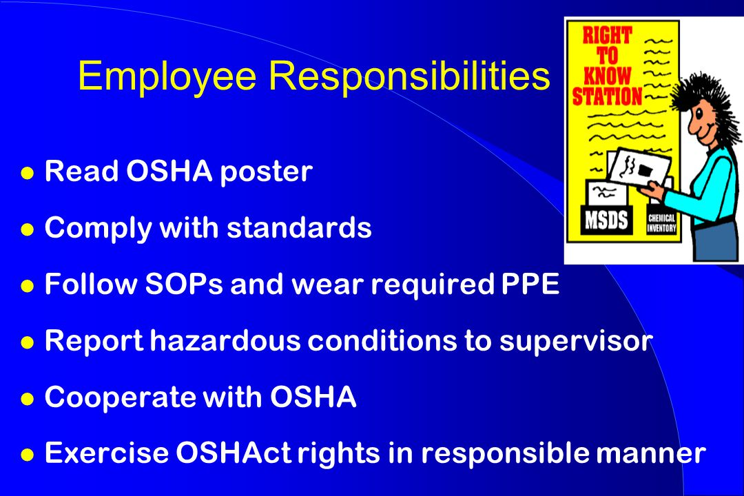 Employee Responsibilities l Read OSHA poster l Comply with standards l Follow SOPs and wear required PPE l Report hazardous conditions to supervisor l Cooperate with OSHA l Exercise OSHAct rights in responsible manner