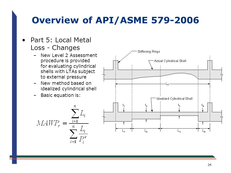 26 Overview of API/ASME 579-2006 Part 5: Local Metal Loss - Changes –New Level 2 Assessment procedure is provided for evaluating cylindrical shells wi