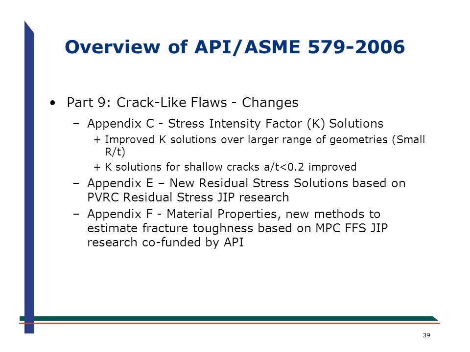 39 Overview of API/ASME 579-2006 Part 9: Crack-Like Flaws - Changes –Appendix C - Stress Intensity Factor (K) Solutions +Improved K solutions over lar