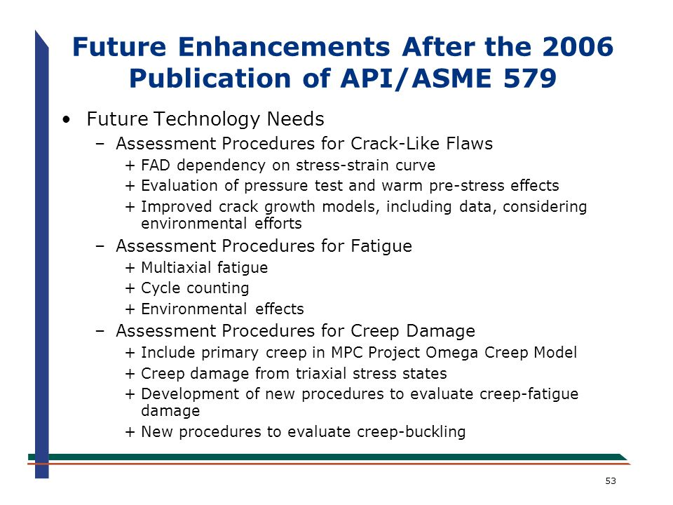 53 Future Technology Needs –Assessment Procedures for Crack-Like Flaws +FAD dependency on stress-strain curve +Evaluation of pressure test and warm pr