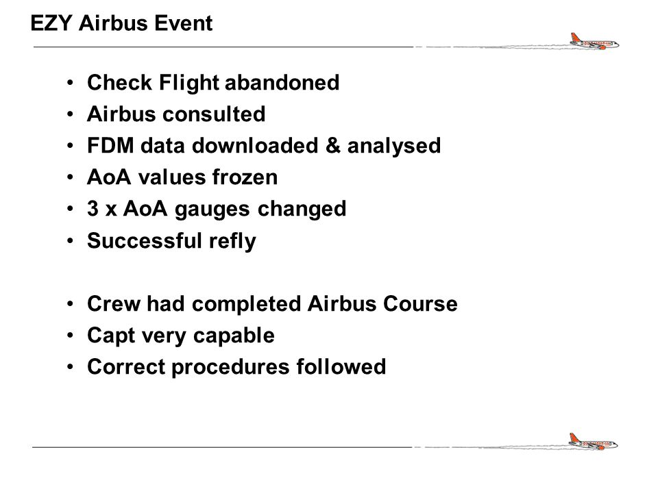 CONFIDENTIAL EZY Airbus Event Check Flight abandoned Airbus consulted FDM data downloaded & analysed AoA values frozen 3 x AoA gauges changed Successf
