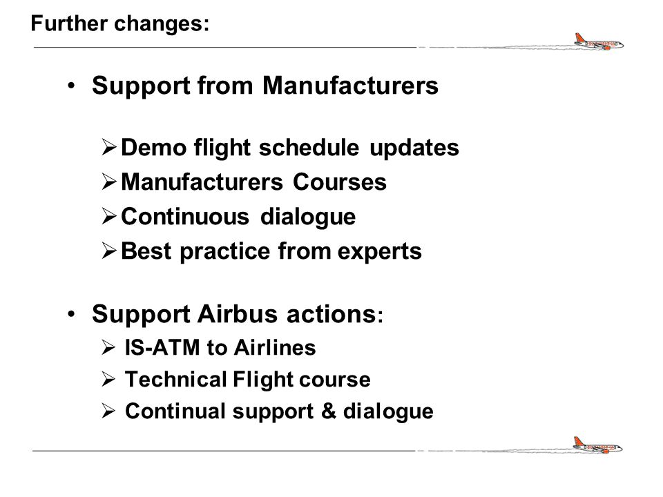CONFIDENTIAL Further changes: Support from Manufacturers  Demo flight schedule updates  Manufacturers Courses  Continuous dialogue  Best practice