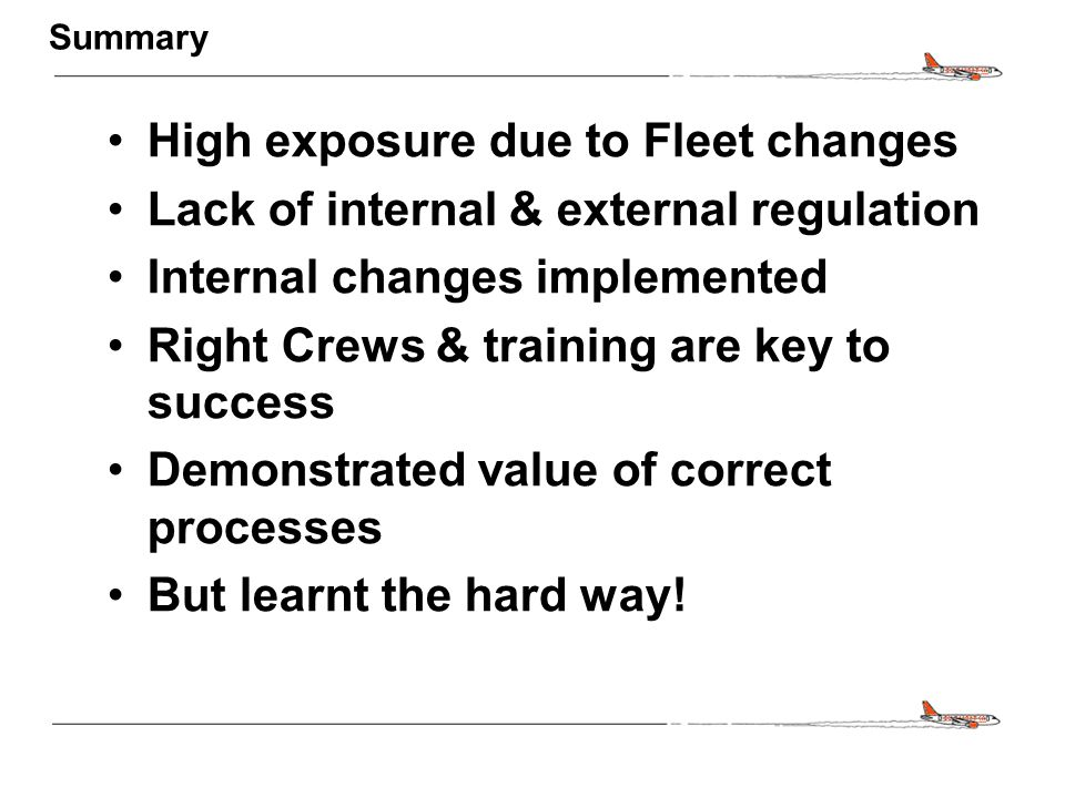 CONFIDENTIAL Summary High exposure due to Fleet changes Lack of internal & external regulation Internal changes implemented Right Crews & training are