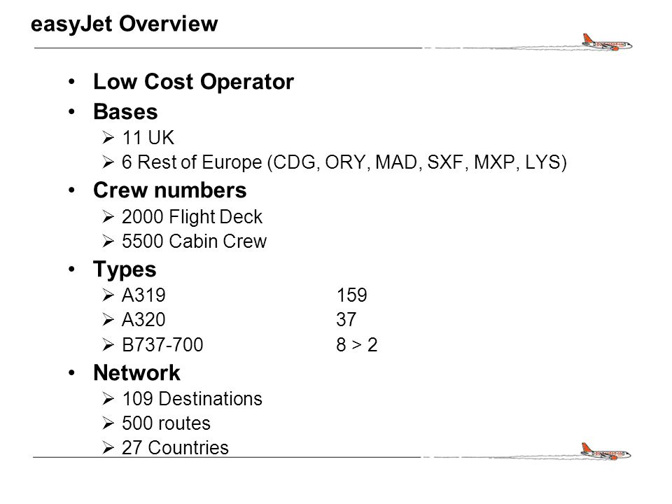 CONFIDENTIAL easyJet Overview Low Cost Operator Bases  11 UK  6 Rest of Europe (CDG, ORY, MAD, SXF, MXP, LYS) Crew numbers  2000 Flight Deck  5500