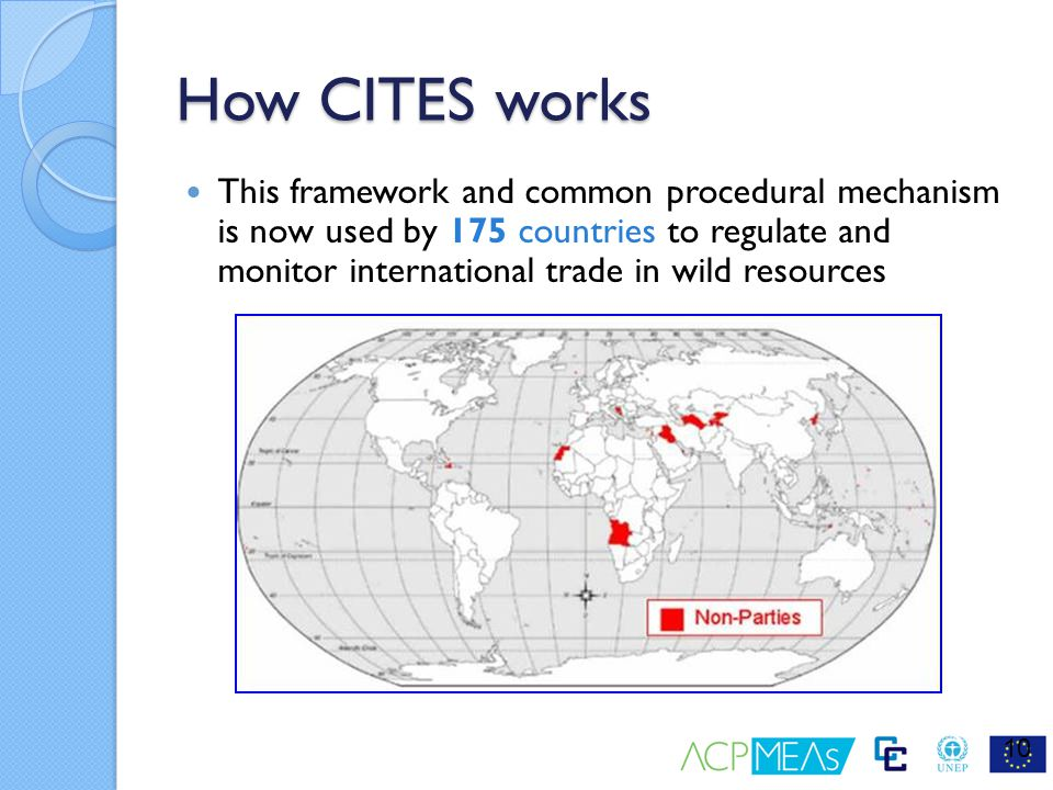 How CITES works This framework and common procedural mechanism is now used by 175 countries to regulate and monitor international trade in wild resour