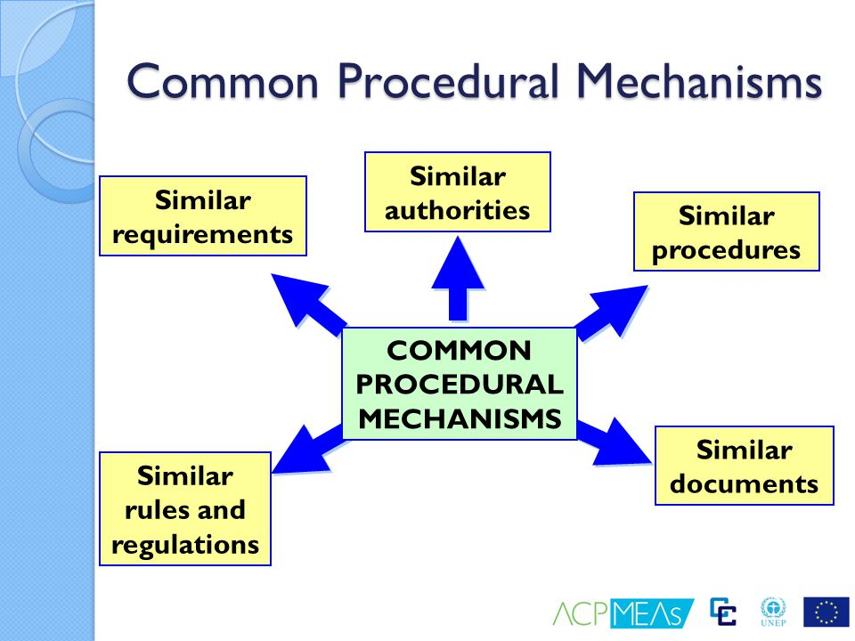 Common Procedural Mechanisms Similar rules and regulations Similar requirements Similar authorities Similar procedures Similar documents COMMON PROCED