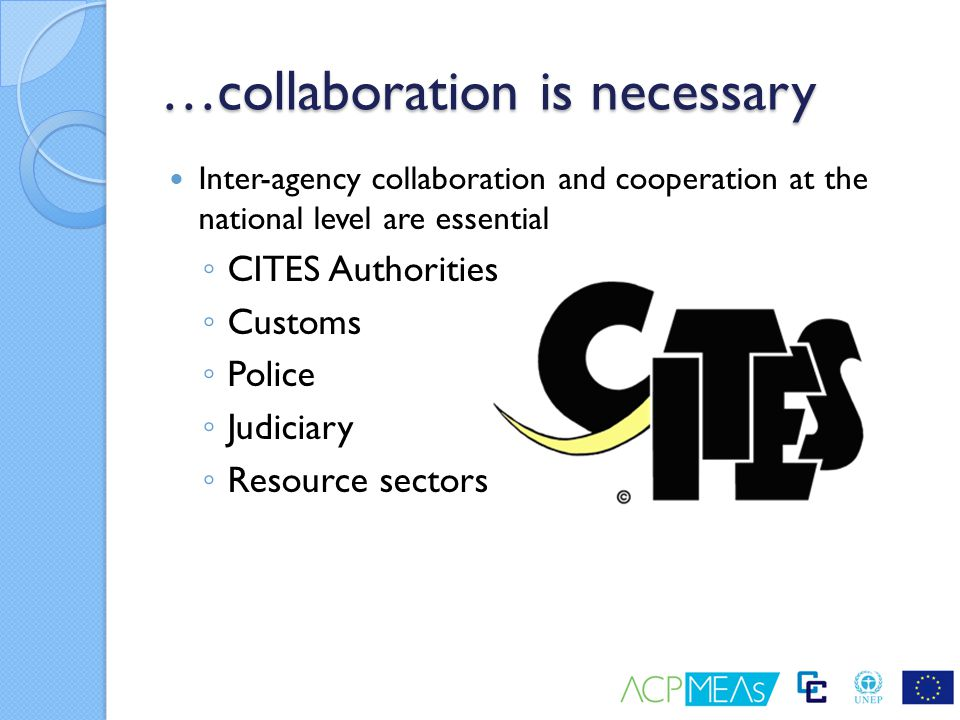 …collaboration is necessary Inter-agency collaboration and cooperation at the national level are essential ◦ CITES Authorities ◦ Customs ◦ Police ◦ Ju