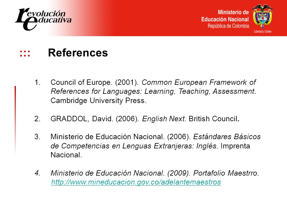 ::: References 1.Council of Europe. (2001).