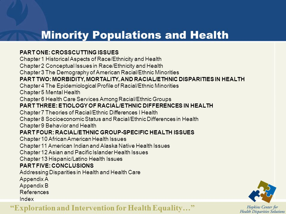 Exploration and Intervention for Health Equality… Minority Populations and Health PART ONE: CROSSCUTTING ISSUES Chapter 1 Historical Aspects of Race/Ethnicity and Health Chapter 2 Conceptual Issues in Race/Ethnicity and Health Chapter 3 The Demography of American Racial/Ethnic Minorities PART TWO: MORBIDITY, MORTALITY, AND RACIAL/ETHNIC DISPARITIES IN HEALTH Chapter 4 The Epidemiological Profile of Racial/Ethnic Minorities Chapter 5 Mental Health Chapter 6 Health Care Services Among Racial/Ethnic Groups PART THREE: ETIOLOGY OF RACIAL/ETHNIC DIFFERENCES IN HEALTH Chapter 7 Theories of Racial/Ethnic Differences I Health Chapter 8 Socioeconomic Status and Racial/Ethnic Differences in Health Chapter 9 Behavior and Health PART FOUR: RACIAL/ETHNIC GROUP-SPECIFIC HEALTH ISSUES Chapter 10 African American Health Issues Chapter 11 American Indian and Alaska Native Health Issues Chapter 12 Asian and Pacific Islander Health Issues Chapter 13 Hispanic/Latino Health Issues PART FIVE: CONCLUSIONS Addressing Disparities in Health and Health Care Appendix A Appendix B References Index