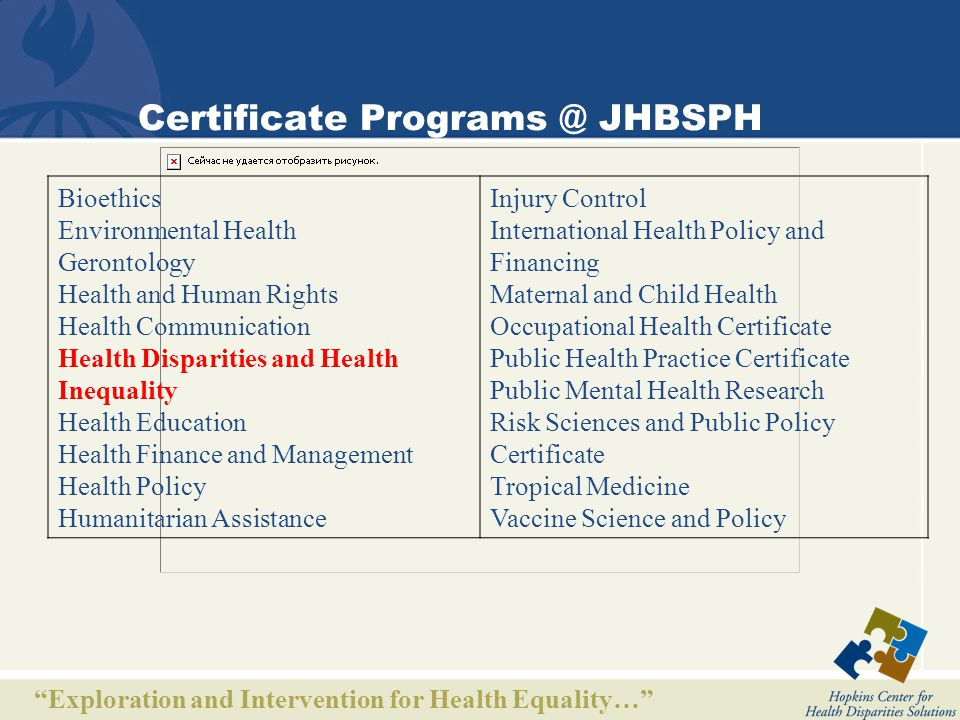 Exploration and Intervention for Health Equality… Certificate in Health Disparities and Health Inequality Sponsoring Department Health Policy and Management Educational Objectives - To train future leaders in research on health disparities and health inequality - To train individuals for leadership in health policy and public health practice on the underlying causes of health inequality - To prepare public health professionals in known solutions for health disparities and health inequality Intended Audience Students enrolled in any graduate degree program (masters and doctoral) at Johns Hopkins University (all divisions).