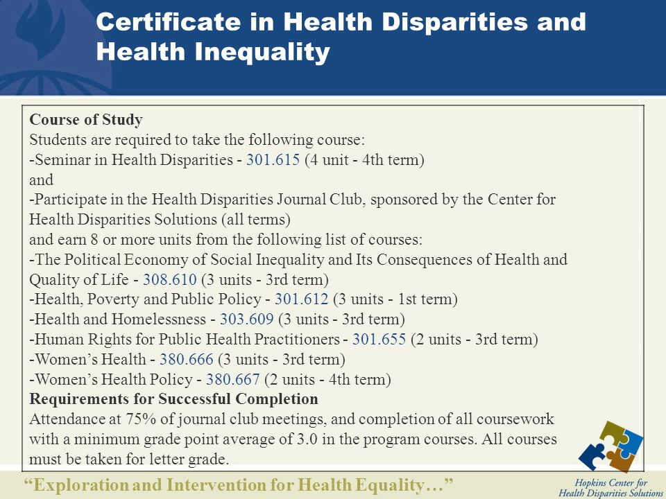 Exploration and Intervention for Health Equality… Other Known Certificate Programs University of Pittsburgh University of North Carolina University of North Texas