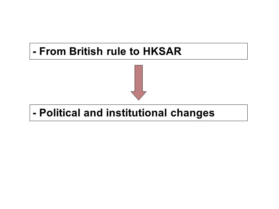 - From British rule to HKSAR - Political and institutional changes