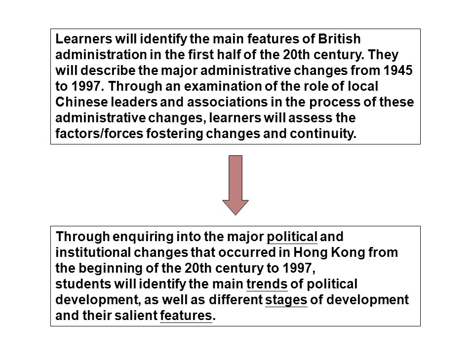 Learners will identify the main features of British administration in the first half of the 20th century.